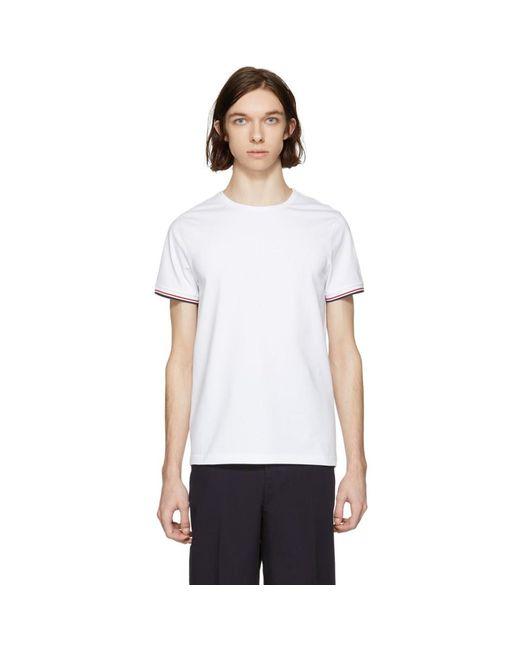 Moncler - White Flag Sleeves T-shirt for Men - Lyst