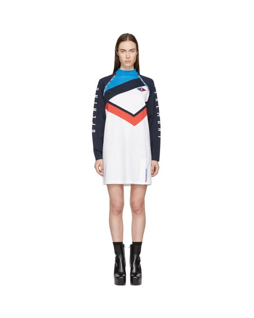 Opening Ceremony - White & Navy Limited Edition Alpha T-shirt Dress - Lyst