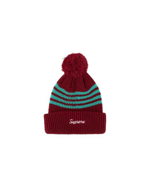 457386875 Men's Red 4-stripe Loose Gauge Beanie