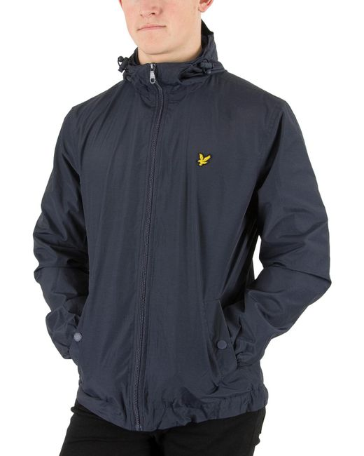 Lyle & Scott - Blue Navy Zip Through Hooded Logo Jacket for Men - Lyst