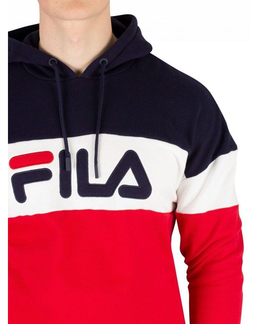 5365766afbdf ... Fila - Red Peacoat Rayton Colour Block Pullover Hoodie for Men - Lyst  ...