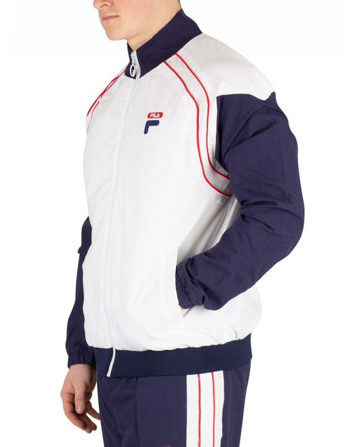 bbb4599e1bd1d ... Fila - White Vaughn Piped Track Jacket for Men - Lyst ...