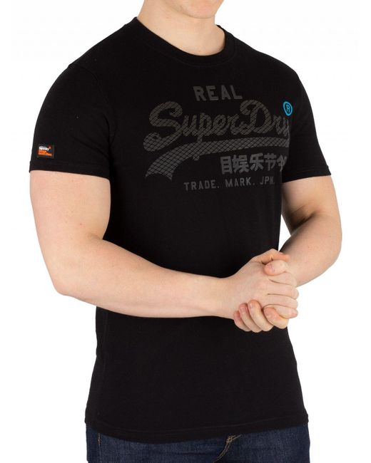 7bd6d4ac Superdry Black Vintage Logo Monochrome T-shirt in Black for Men - Lyst