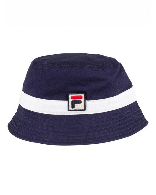 acb2983eed4 Lyst - Fila Peacoat white Basil Bucket Hat in White for Men