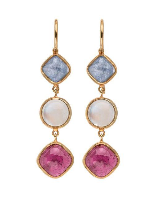 Darlene De Sedle - Multicolor Triple Drop Multi Gemstone Earrings - Lyst
