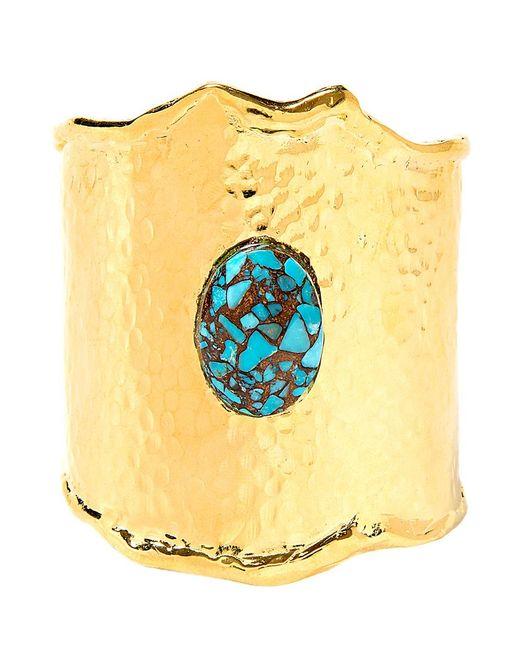 Devon Leigh | Metallic Hammered Gold And Turquoise Mosaic Cuff | Lyst