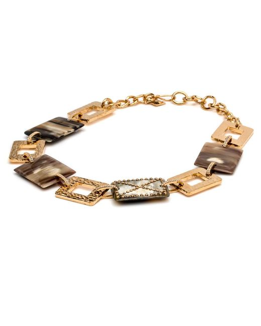 Ashley Pittman | Metallic Hammered Plate And Horn Necklace With Diamonds | Lyst