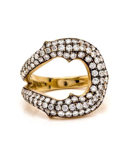 Sylva & Cie | White Diamond Horseshoe Ring | Lyst