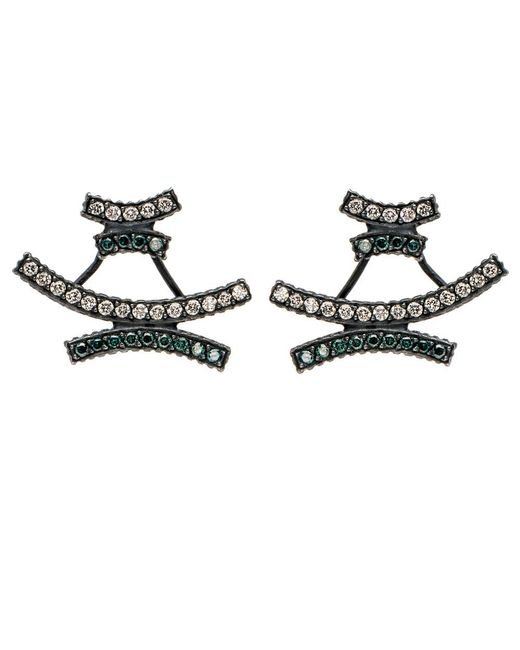 Yossi Harari - Multicolor Lilah Pave Crisscross Earrings - Lyst