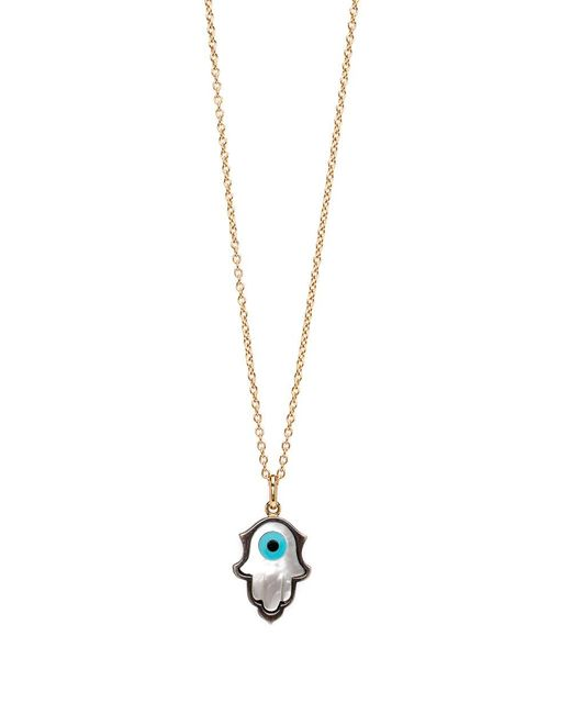 Sylva & Cie - Metallic Mother Of Pearl Hamsa Pendant Necklace - Lyst