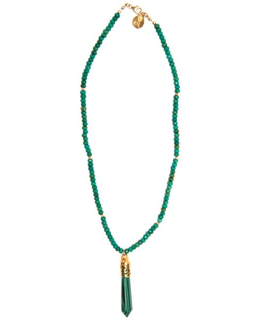 Devon Leigh | Blue Turquoise Beaded Necklace With Malachite Spike | Lyst