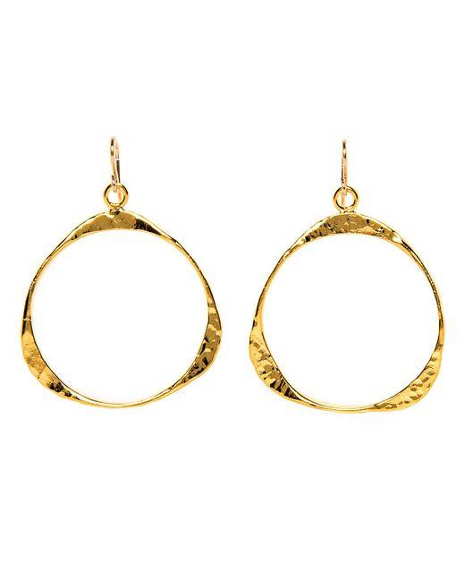 Devon Leigh - Metallic Hammered Gold Triangle Drop Hoop Earrings - Lyst