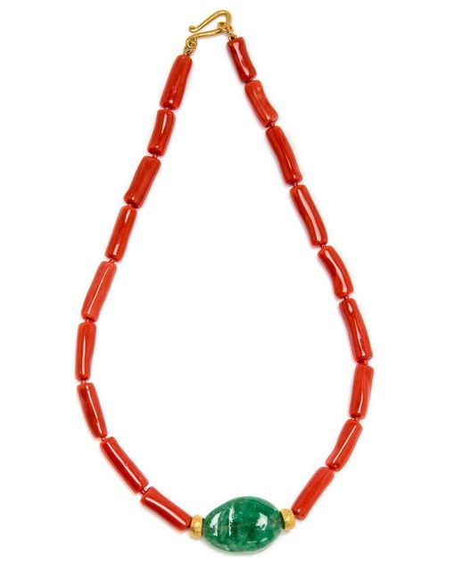 Darlene De Sedle - Red Coral Necklace With Emerald Stone Pendant - Lyst