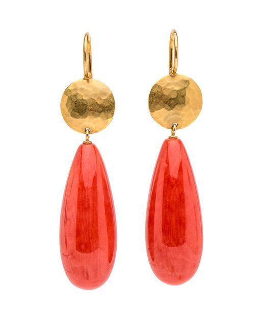 Darlene De Sedle - Metallic Gold Disc Coral Drop Earrings - Lyst