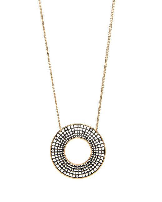 Roule & Co. | Blackened White Diamond Halo Pendant Necklace | Lyst