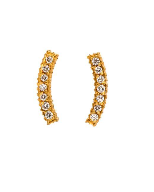 Yossi Harari   Metallic Lilah Gold Curved Diamond Pave Stud Earrings   Lyst