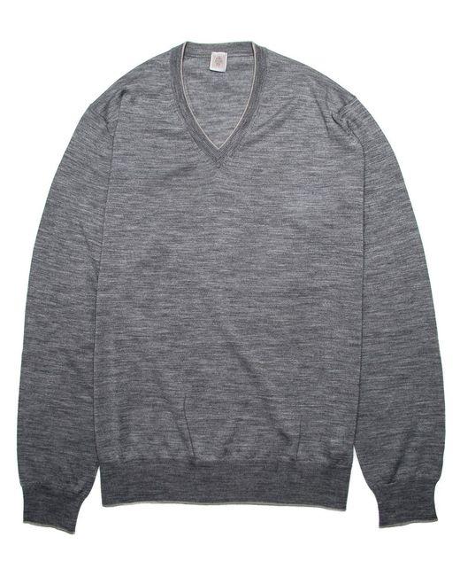 Eleventy Black Light Grey V Neck Knit Sweater Xl for men