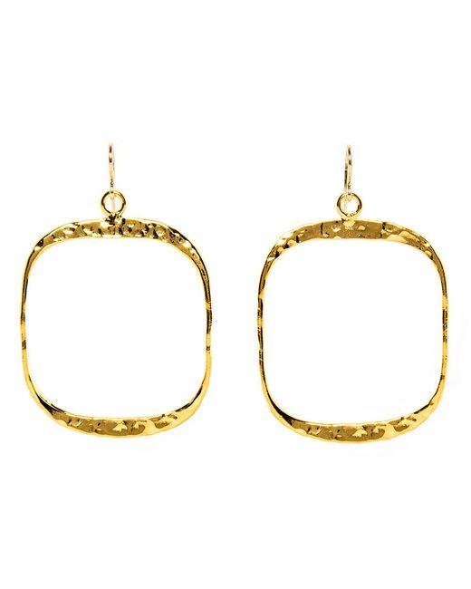 Devon Leigh | Metallic Hammered Gold Square Drop Hoop Earrings | Lyst