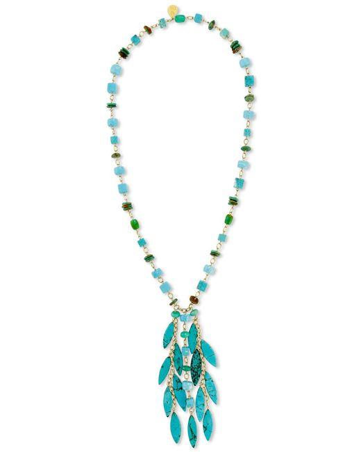 Devon Leigh - Blue Turquoise Mix Beaded Fringe Pendant Necklace - Lyst