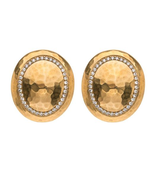 Darlene De Sedle - Metallic Gold Hammered Oval Disc With Diamond Pave Rim - Lyst