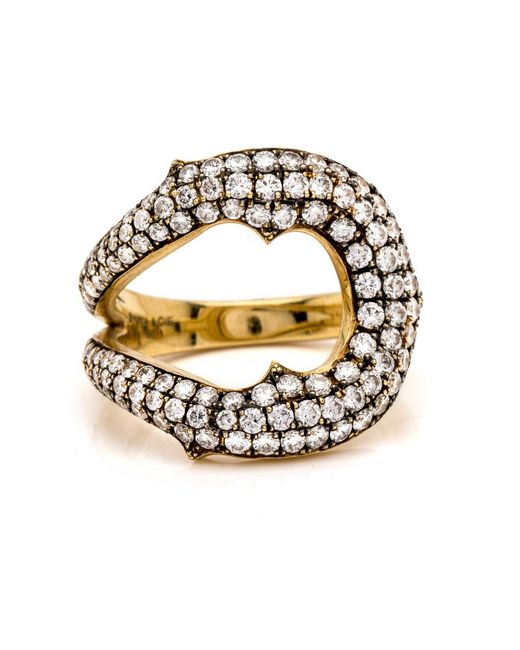 Sylva & Cie   White Diamond Horseshoe Ring   Lyst