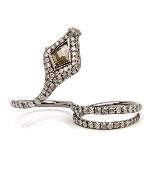 Loree Rodkin - Metallic Coiled Snake Knuckle Ring - Lyst