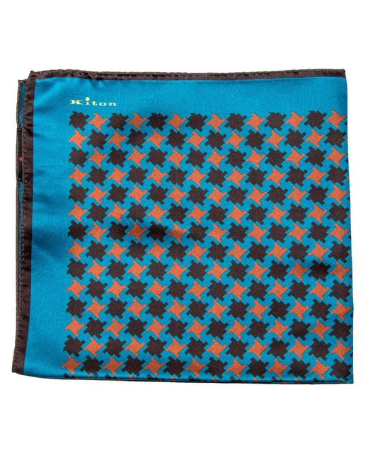 Kiton - Blue Teal And Rust Houndstooth Print Pocket Square for Men - Lyst