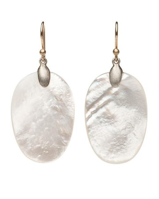 Ted Muehling | Metallic Mother Of Pearl Chip Earrings - Silver Top | Lyst