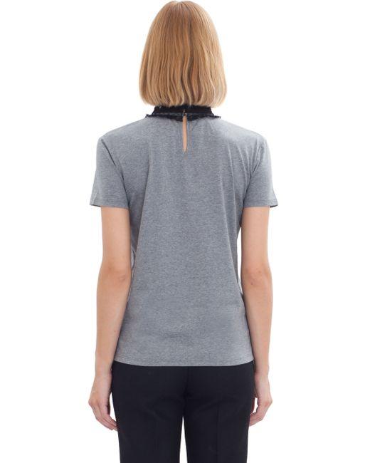 Miu miu lace trimmed cotton t shirt in grey lyst for Miu miu t shirt