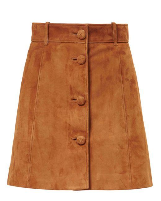 Miu Miu | Brown Suede Mini Skirt | Lyst