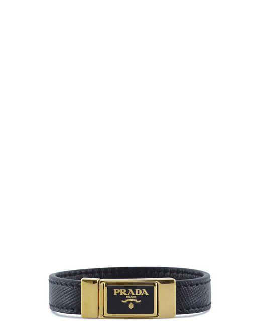 Prada | Black Saffiano Leather Logo Bracelet | Lyst