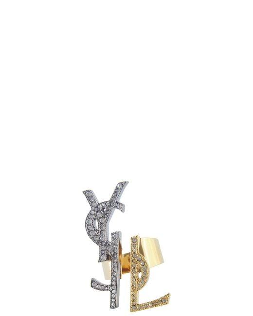 Saint Laurent | Metallic Logo Cocktail Ring | Lyst