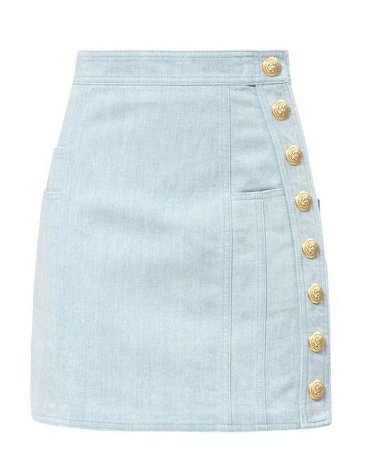 Balmain | Blue Gold Button Denim Mini Skirt | Lyst