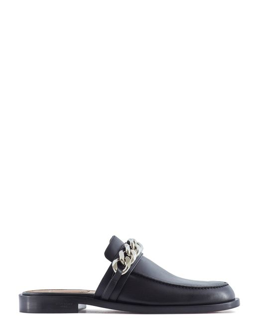 Givenchy | Black Chain Embellished Flat Mules | Lyst