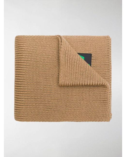 Prada - Brown Logo Patch Scarf - Lyst