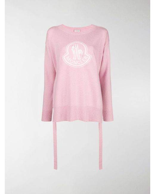7cd5d614f Moncler Logo Pullover Knit Sweater in Pink - Save 7.826086956521735 ...