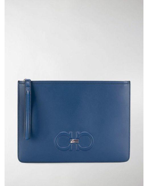 1649bf43852f Ferragamo - Blue Gancini Clutch Bag for Men - Lyst ...