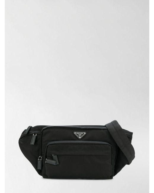 1fd01e84bbcb2c Prada - Black Fabric Belt Bag for Men - Lyst ...