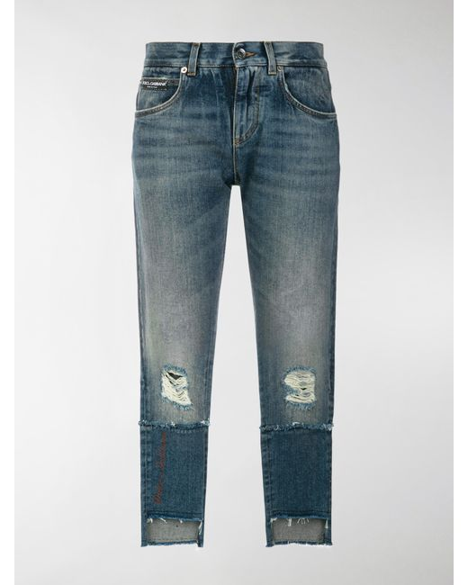 deconstructed logo patch jeans - Blue Dolce & Gabbana uPasb