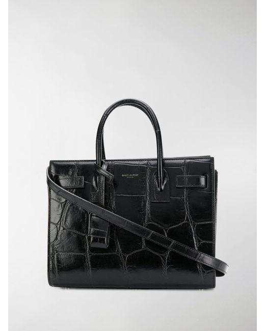 6fcef842ee8c Saint Laurent - Black Crocodile Tote Bag - Lyst ...