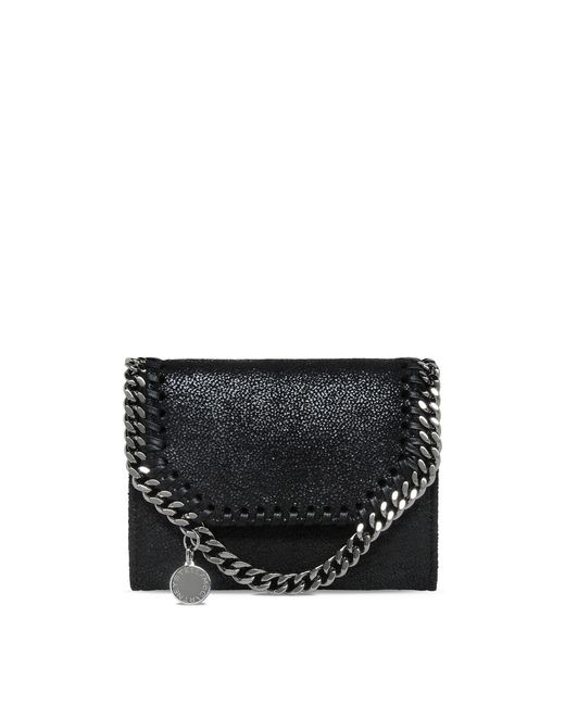 Stella McCartney | Metallic Black Falabella Shaggy Deer Small Wallet | Lyst