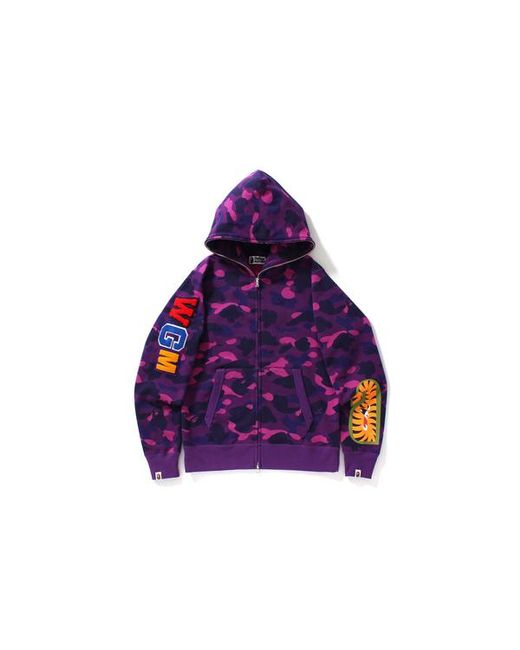 370d0b7fdf03 A Bathing Ape. Men s Color Camo Embroidery Shark Full Zip Hoodie Purple