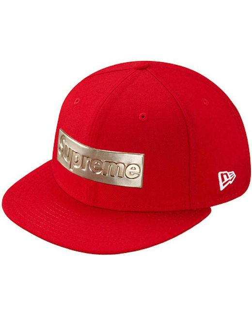 4e37a6af4eb Lyst - Supreme Metallic Box Logo New Era Hat Red in Red for Men