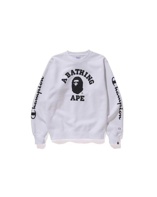 ecd19ecd Lyst - A Bathing Ape Championcollege Crewneck White in White for Men