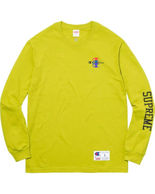Supreme - Champion Stacked C L/s Tee Bright Green for Men - Lyst