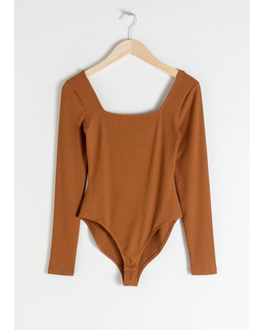 & Other Stories - Natural Square Neck Bodysuit - Lyst