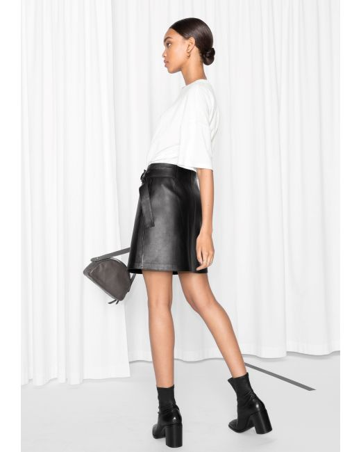 other stories wrap leather skirt in black lyst