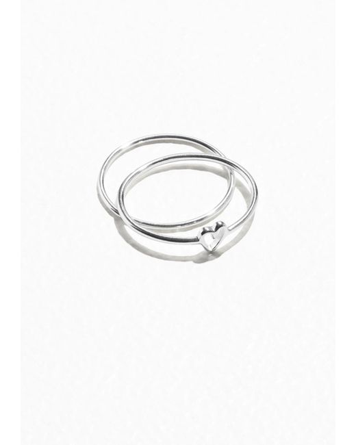 & Other Stories | Metallic Sterling Silver Heart Ring | Lyst