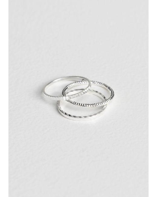 & Other Stories - Metallic Trio Ring Set - Lyst