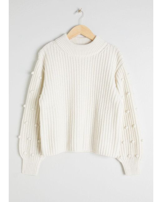 & Other Stories - White Pom Pom Sleeve Sweater - Lyst
